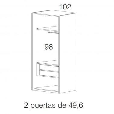 ARMARIO LISA PUERTAS BATIENTES 302x240 LACADO SAHARA