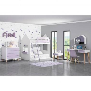 Habitación infantil juvenil con Litera con forma de casita