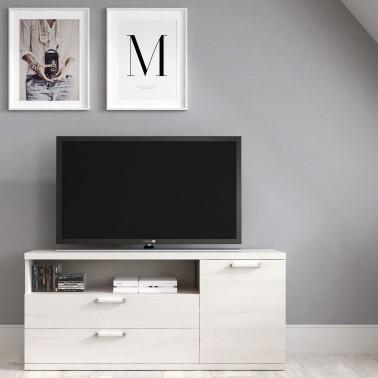 MUEBLE TV EN MELAMINA CON 2 CAJONES Y 1 PUERTA (120 cm) CHRONOS