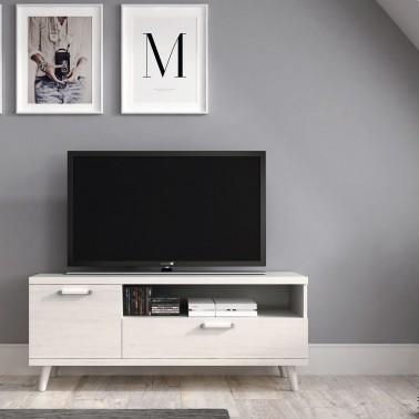 MUEBLE TV NORDICO EN MELAMINA CON 1 CAJON Y 1 PUERTA (120 cm) CHRONOS