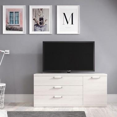MUEBLE TV EN MELAMINA CON 3 CAJONES Y 1 PUERTA (120 cm) CHRONOS