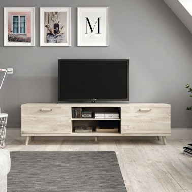 MUEBLE TV EN MELAMINA CON 2 PUERTAS Y 2 HUECOS (180 cm) CHRONOS
