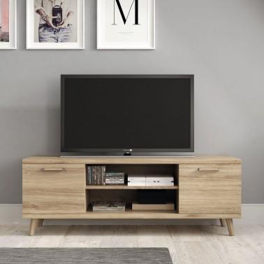 MUEBLE TV EN MELAMINA CON 2 PUERTAS Y 2 HUECOS (140 cm) CHRONOS
