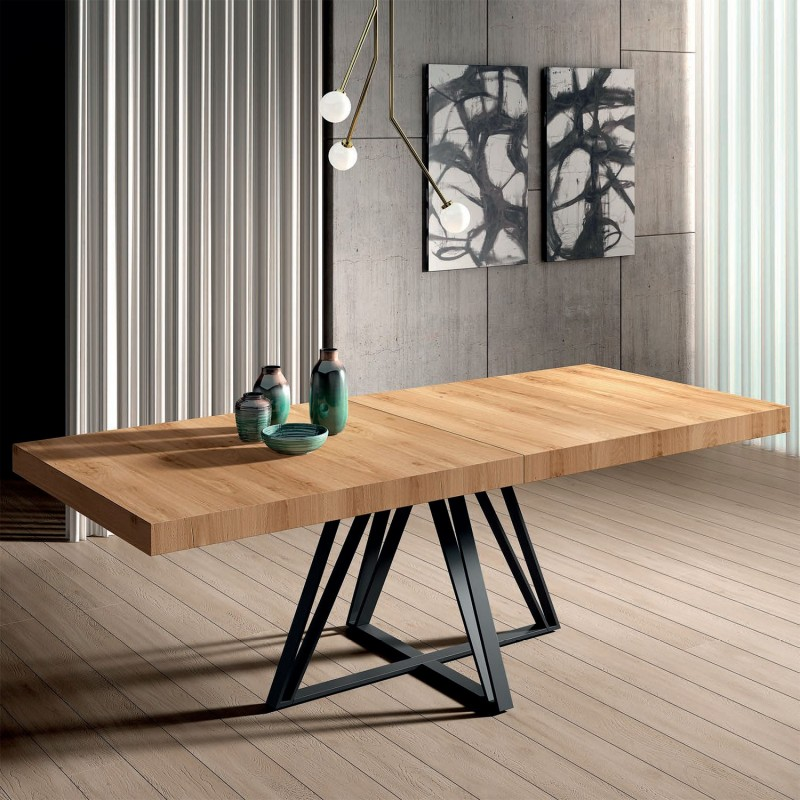 Mesa comedor rectangular extensible con tapa madera y pata metálica