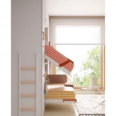 Litera abatible abierta para facilidad el hacer la cama superior